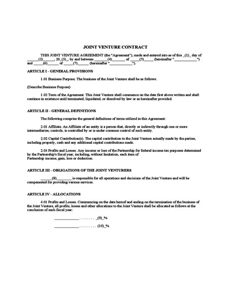 contractual joint venture agreement template joint venture contract free