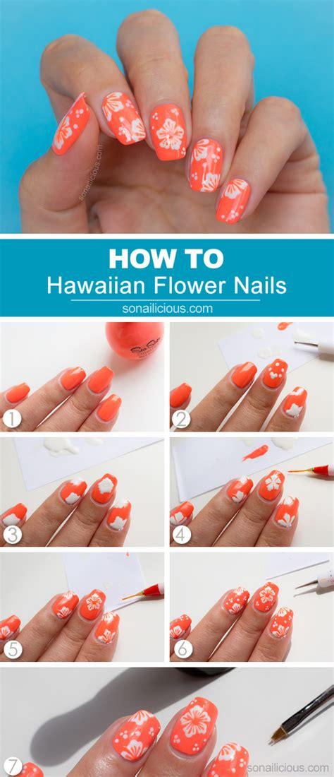 tutorial nail art flower hawaiian flower nail art tutorial