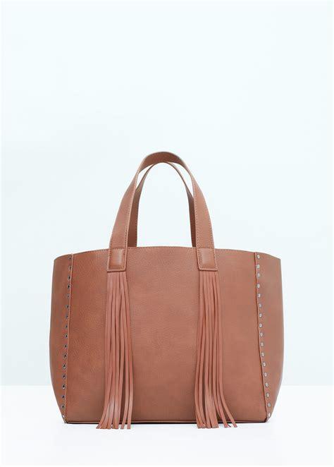 Handbag Mango mango fringed shopper bag in pink lyst