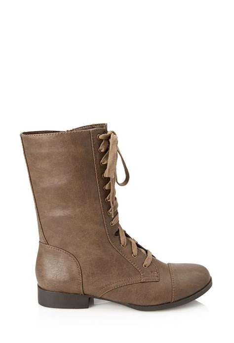 Forever 21 Leather Shoes lyst forever 21 faux leather lace up boots in gray