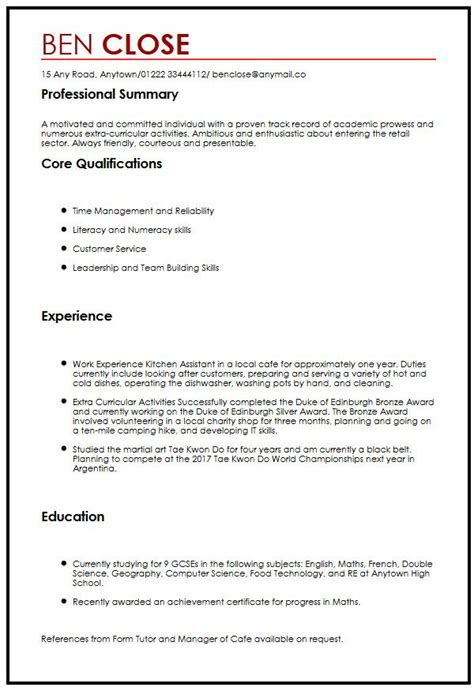 resume templates for teenagers cv sle for teenagers myperfectcv