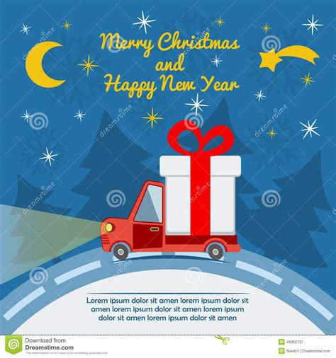 Gift Cards Delivered By Christmas - gift delivery van in christmas eve stock vector image 49362737