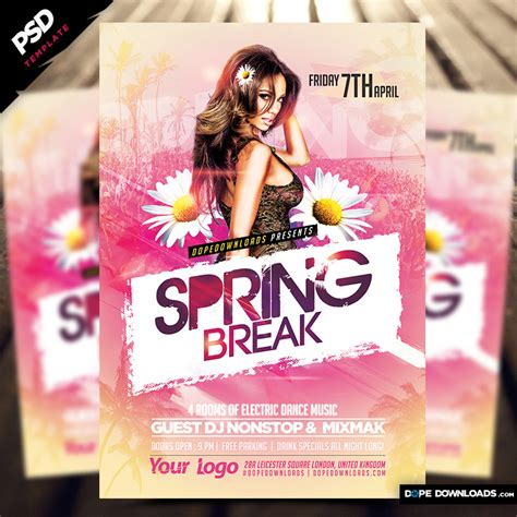 Spring Break Flyer Template 2017 Dope Downloads Ad Template 2017