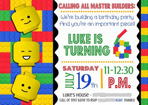 Boy Lego Birthday Card Template Word by Smile Like You It Portfolio