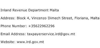 Rev Address Lookup Inland Revenue Department Malta Address Contact Number Of Inland Revenue Department Malta