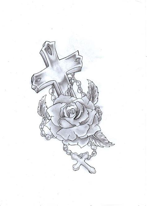 i want this cross tattoo with rosary an rose tattoos