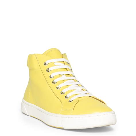 yellow sneaker polo ralph leather high top sneaker in yellow lyst