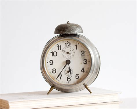 alarm clock antique german desk clock retro clock gray
