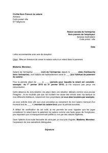 Modèle Lettre Mise En Demeure Impayé Lettre De Demission Non Paiement Salaire Application Letter