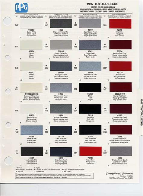 1997 toyota paint codes