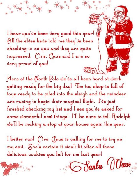 printable santa letters printable letters letter from santa and letters on pinterest