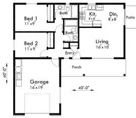 small cer floor plans adu small house plan 2 bedroom 2 bathroom 1 car garage