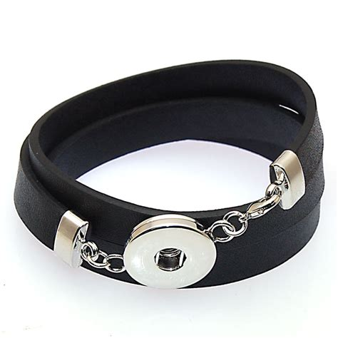 leather wrap bracelet with charms aliexpress buy leather wrap bracelets for snap button charm bracelet fits snap button