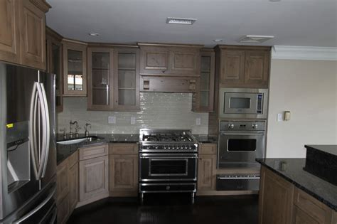 Refacing Kitchen Cabinets Before And After gray knotty alder cabinets kitchen