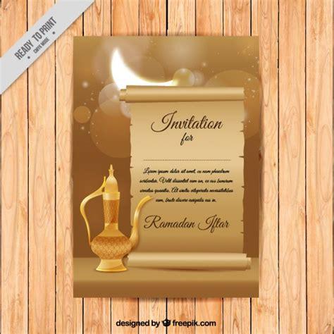 ramadan invitation card template ramadan invitation with teapot vector free