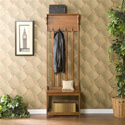 hall coat tree bench amazon com mission oak hall tree entry bench furniture
