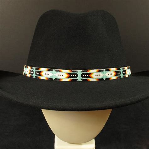 beaded hat band blue feather beaded hatband waci ci trading co