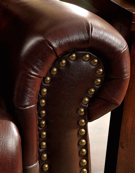 Leather Nailhead by Carlton Traditional Brown Loveseat In Top Grain Leather