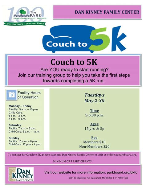 kids couch to 5k kids families springfield greene county park board