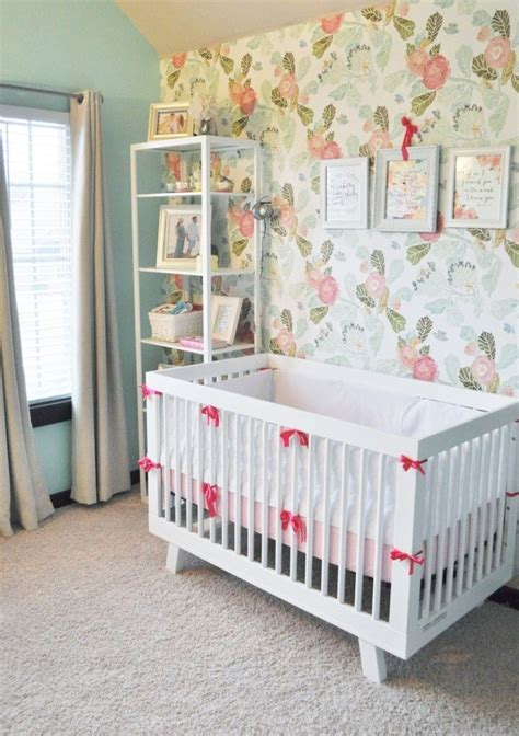 Crib Wallpaper by Elizabeth S Floral Pink Peony And Mint Nursery Floral Accent Walls And Mint Nursery