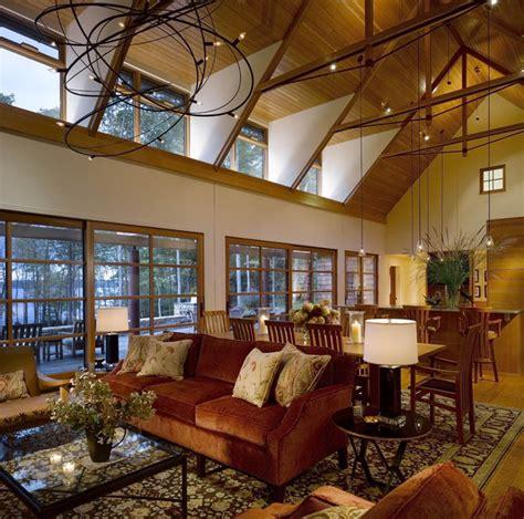 vermont lake house rustic living room burlington
