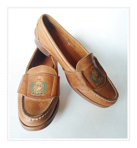 vintage loafers womens vintage leather ralph loafers with crest