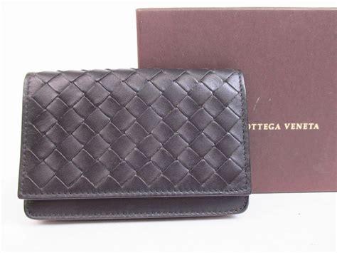 Bottega Veneta Brand Fastener Card by Bottega Veneta Intrecciato Leather Black Business Card