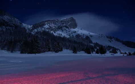 wallpaper  mountains night winter