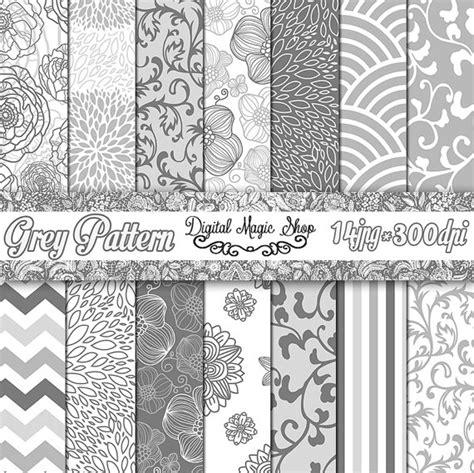 grey pattern paper grey digital paper gray floral paper pack seamless pattern