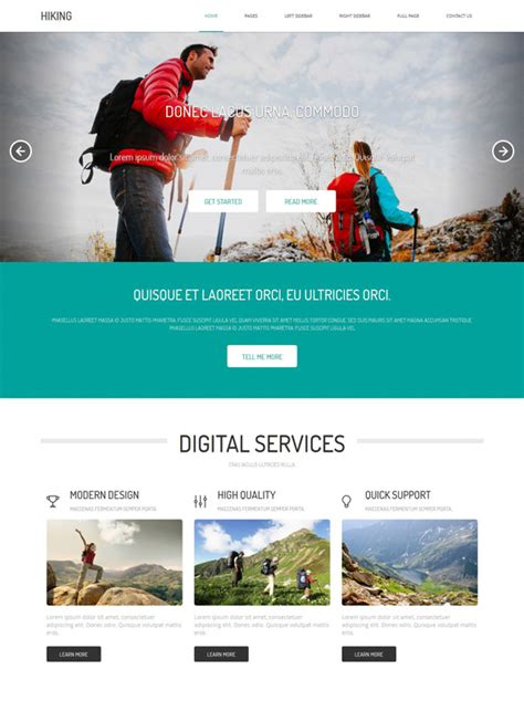 Hiking Adventures Html Template Hiking Website Templates Dreamtemplate Adventure Website Templates