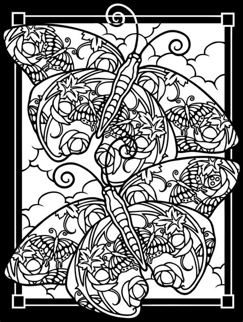 cool butterfle stained glass coloring pages free printable