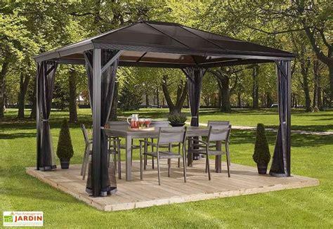 stabile pavillons 4x4m tonnelle en aluminium anthracite et polycarbonate bronze 4