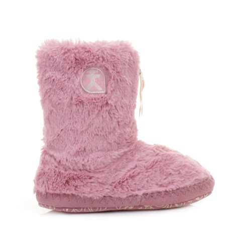 bedroom shoes womens bedroom athletics marilyn pink faux fur slipper boots size 3 4 7 8 ebay