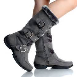 womens winter boots snow gray flat studded buckle cute