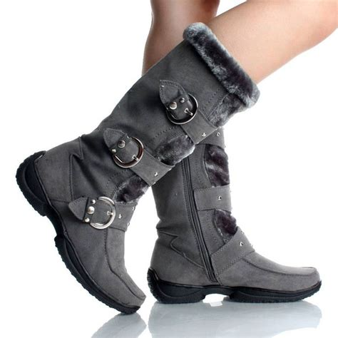 womens winter boots snow gray flat studded buckle