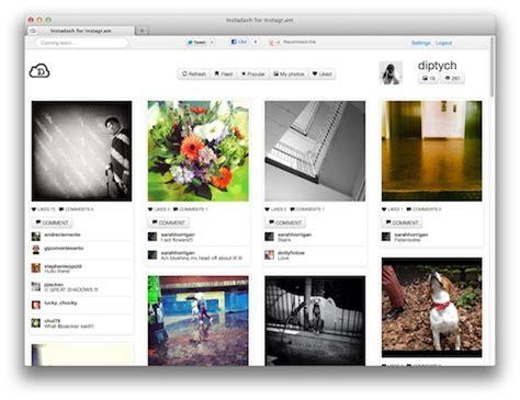 instagram description layout instadash a slick instagram web app