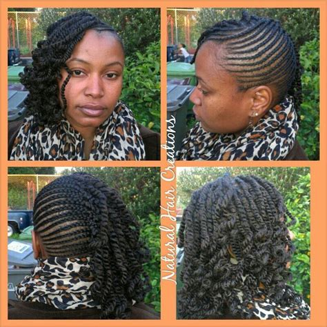 kinky twist with braids in the front kinky twists with small cornrows yelp