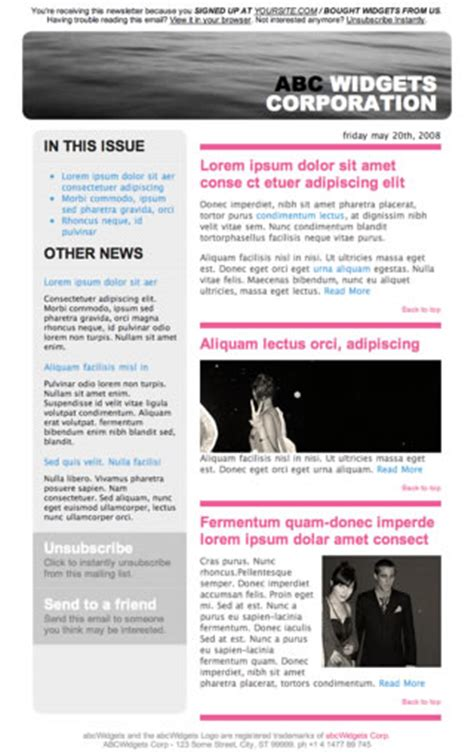 Monster Designs Newsletter Templates Free Download Html Newsletter Templates Free