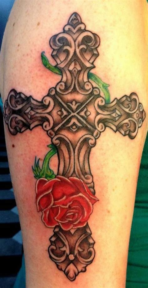 cross with rose tattoo tattoos i ve done pinterest