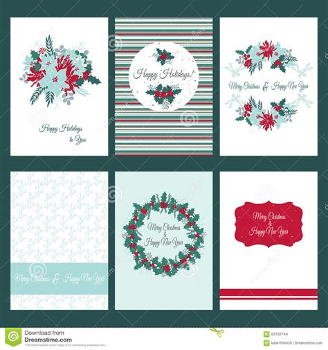 birthday card template winter card templates set stock vector image 63132744