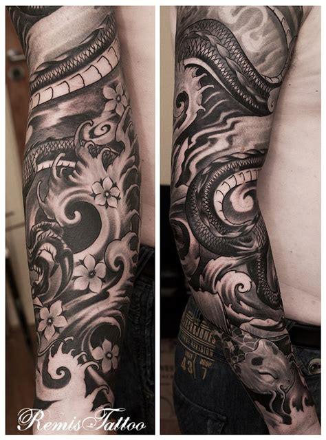 japanese sleeve tattoo designs black and grey japanese black and grey by remistattoo on