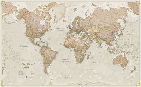 wall map world antique style laminated wall map maps international for 59 99 at mcmaps
