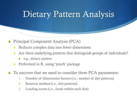 pattern analysis in french ppt ffqs and dietary pattern analysis powerpoint