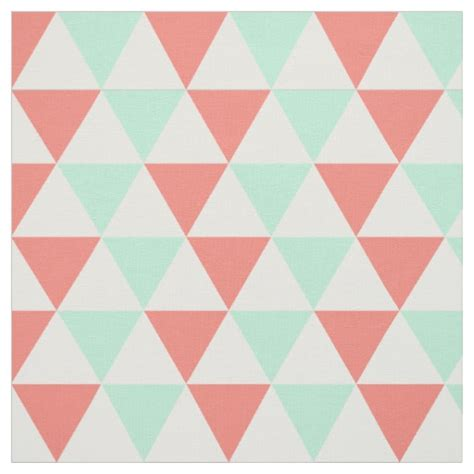 Tempat Tisu Triangle Green Pink coral pink and mint green triangle pattern fabric zazzle