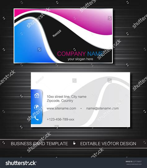 Card Template With Front And Back by Business Card Template Front Back Sideeditable Stock