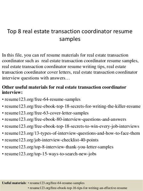Desktop Support Engineer Resume Samples by Top 8 Real Estate Transaction Coordinator Resume Samples
