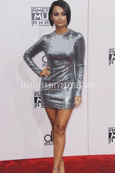 Silver Grey Sequin Long Sleeve Nazanin Mandi Short Dress 2016 American Music Awards