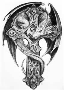 55 dragon cross tattoos designs and pictures