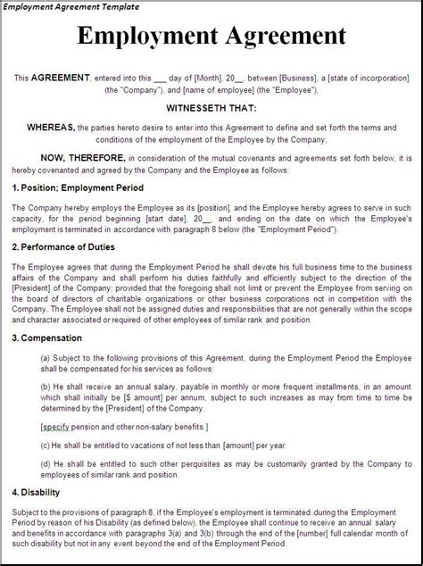 sample employment contract forms 11 free documents in pdf doc