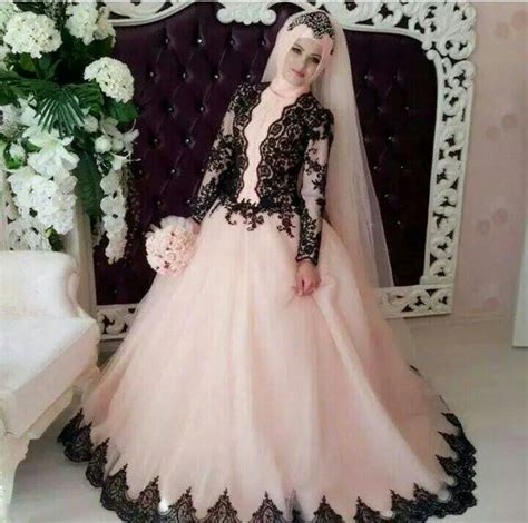 casamento traditional muslim wedding dresses sleeve black lace appliques pink bridal gown